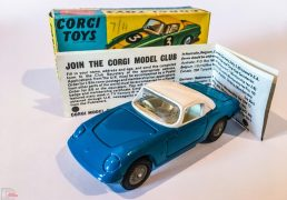 Corgi No.319 Lotus Elan Coupe - blue body, white hood, cream interior, detachable chassis with cast hubs