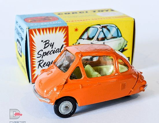 Corgi No.233 Heinkel Economy Car - finished in orange, lemon interior, cast hubs hubs - Mint in a Mint blue and yellow carded picture box - a superb example.