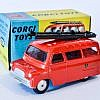 """Corgi No.423 Bedford """"Fire Dept"""" - red body, spun hubs, bare metal ladders - Mint and bright example in generally Good Plus to excellent blue and yellow carded picture box (although does have pencil price label to one end flap)."""