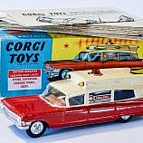 Corgi No.437 Cadillac Superior Ambulance – red, cream, spun hubs – battery operated issue; with red roof-light – Excellent, outer blue and yellow carded picture box is excellent Plus. Comes complete with inner packing card and correct instruction sheet.