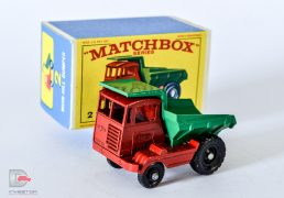 Matchbox 2C Muir Hill Dumper Truck. This is the ultra rare version of which only 72 are known. This model came from the publicity director of Muir Hill who originally commissioned the models to be made. This model is as new as is the box.