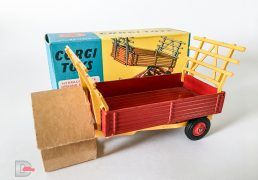 Corgi No.62 Farm Tipper Trailer - red body, plastic hubs, deep yellow chassis, raves