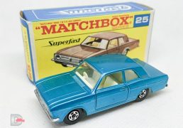 Matchbox Superfast No.25A Ford Cortina GT - metallic light blue body with off-white interior, thin 5-spoke wheels - Near Mint in Mint type F, transitional box with black script.