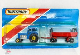 Matchbox Superfast Twin Pack containing No.46 Ford Tractor and No.40 Farm Hay Trailer TP108 containing blue tractor with yellow hubs and red trailer with black plastic wheels and black raves - all with Lesney England bases - contents Near Mint to Mint in Excellent blister pack, un-punched card.