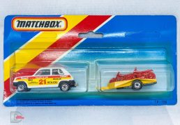 Matchbox Superfast 21c Renault 5TL Rally Car twin pack issue - white body with red & yellow Seltic racing number 21 tampo print, clear windows, brown interior, gloss black Lesney England base. Yellow motorbike trailer complete with three bikes. Both models are mint and not removed from card. Card only has one punch out, other two remain.