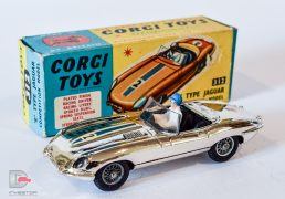 Silver vacuum plated body, racing numbers and bonnet stripe. Both model and box in excellent plus near mint condition.