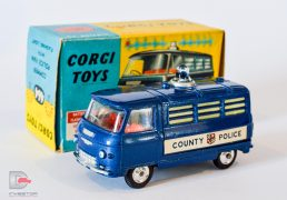 "Corgi No.464 Commer ""County Police"" - mid blue, red interior, blue battery operated roof-light, spun hubs - Excellent nice bright example in generally Excellent plus blue and yellow carded picture box."