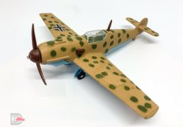 Dinky No.726 Messerschmitt BF109E - desert camouflage, light brown/green, cross decals to wings, brown propeller - Mint in Good Plus to Excellent, slightly age discoloured bubble pack box with unused decal sheet and both instruction leaflets.