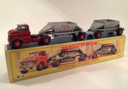 Matchbox King Size K4 Fruehauf Hopper Train - dark red cab, silver hoppers, red plastic hubs with black tyres (M4 baseplate) - Model condition is generally Excellent plus in a Good Lesney carded picture sleeve, inner tray is also Good.