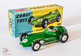 Corgi No.152 BRM Grand Prix Racing Car - green body, silver trim, racing No.1, smooth cast hubs - Excellent in Good Plus card box.