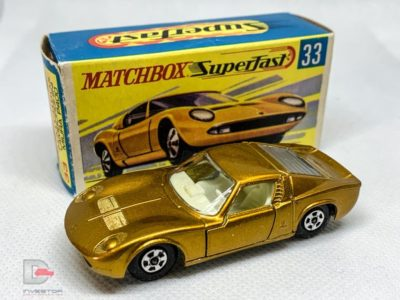 MATCHBOX Superfast 33A Lamborghini Muira Gold / Ivory Int / Thin Wheels / Unpainted Base / Made in England