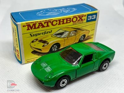 MATCHBOX Superfast 33A Lamborghini Muira BULGARIAN GREEN / Wide Wheels / Silver Base / Made in Bulgaria