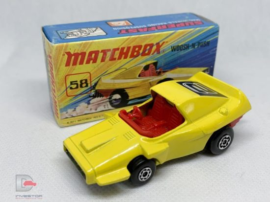 "Matchbox Superfast No.58b Woosh-n-Push - lemon yellow body with racing No.2 rear label, red interior, bare metal base, Mint Condition - complete with excellent ""New"" type I box, some writing to front."