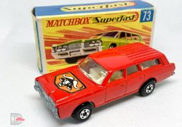 "Matchbox Superfast No.73a Mercury Commuter - red body with ""Bulls Head"" hood label and without fuel filler flap cast, high arches, clear windows, ivory interior, bare metal ""No.59 or 73"" base, 5-spoke wide wheels - Mint in Near Mint ""New"" type G box."