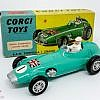 Corgi No.152S BRM Formula 1 Grand Prix Racing Car - turquoise body & base with silver nose and exhaust, racing number 1 and Union Jack nose decals, silver interior with driver figure, flat spun hubs which have had accessory pack adhesive spoked hubs applied - Near mint aside from a small touch in on rear of body and in generally good plus blue and yellow box.
