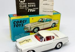 "Corgi 258 ""The Saint's"" Volvo P1800 - white body, silver trim, red interior with figure driver, spun hubs - Mint (couple of very minor factory marks) in a Near Mint blue and yellow carded picture box with original price label to end flap, comes accompanied with collectors club folded leaflet."