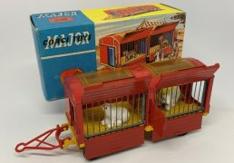 "Corgi No.1123 ""Chipperfield Circus"" Animal Cage - red, yellow, blue plastic doors with 2 x Polar Bear figures, spun hubs - Excellent condition still a bright example in a Good plus blue and yellow carded picture box."