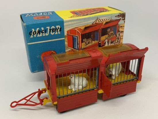 """Corgi No.1123 """"Chipperfield Circus"""" Animal Cage - red, yellow, blue plastic doors with 2 x Polar Bear figures, spun hubs - Excellent condition still a bright example in a Good plus blue and yellow carded picture box."""