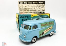 """Corgi No.441 Volkswagen """"Toblerone"""" Van - light blue, yellow interior, silver trim, spun hubs, a couple of touch ins on coach lines but still a lovely example - in generally an Excellent blue and yellow carded picture box."""