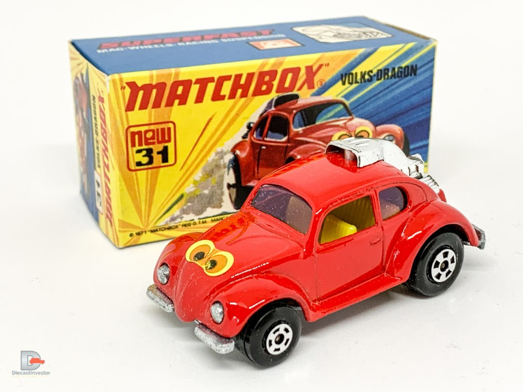 """Matchbox Superfast No.31B Volksdragon – red body with yellow interior, """"eyes"""" label, purple glass – Mint including type I box."""