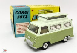 Corgi 420 Ford Thames Airborne Caravan – two-tone green, silver trim, spun hubs – Mint example in an excellent blue and yellow carded picture box, small damage to one end flap.