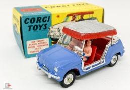 Corgi No.240 Ghia-Fiat 600 Jolly – blue body, red interior with figures, silver and red plastic canopy, chrome trim, spun hubs – Mint in a Mint blue and yellow carded picture box with collectors club folded leaflet. This is a lovely piece and rarely found in this condition.