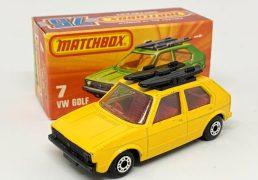 Matchbox Superfast No.7c Volkswagen Golf – yellow body, clear windows, red interior, gloss black base – Mint in mint type K box.