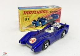 "Matchbox Superfast 61a Blue Shark – metallic dark blue body with Scorpion nose label, clear windscreen, bare metal base, 4-spoke wide wheels – Near Mint in Mint ""New"" type I box."