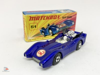 "Matchbox Superfast 61a Blue Shark – metallic dark blue body with Scorpion nose label, clear windscreen, bare metal base, 4-spoke wide wheels – Near Mint in Mint ""New"" type I box."