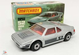 "Matchbox Superfast 52c BMW M1 - metallic silver body with racing number 52 tampo print , clear windows, gloss black base, 5-arch wheels - Mint  in mint ""New"" type L box."