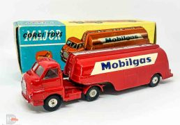 "Corgi No.1110 Bedford Type S Petrol Tanker ""Mobilgas"" red including Tanker, silver trim including gantry and filler caps, chrome spun hubs. Good Plus (does have a couple of small marks and rubs) still a nice bright example in a Good Plus to Excellent blue and yellow carded picture box, complete with inner packing piece."