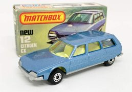 """Matchbox Superfast 12d Citroen CX Estate - metallic blue body, clear windows, pale yellow interior, rare gloss black base - Near Mint with small scratch to base in Near Mint to Mint """"New"""" type L box."""