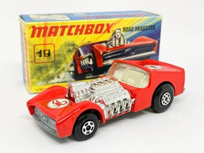 Matchbox Superfast 19b Road Dragster - red body with Scorpion labels, clear windows, ivory interior, bare metal base - Near Mint with usual factory assembly marks to engine air intake in Good Plus type I box.