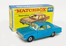 Matchbox Superfast No.25A Ford Cortina GT - metallic light blue body with off-white interior, thin 5-spoke wheels - Mint in Near Mint type F box with black script.