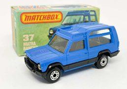 Matchbox Superfast 37e Matra Rancho - Royal Blue body, clear windows, black interior & tailgate, blue Lesney England base, narrow profile 5-arch wheels - Mint in Near Mint to Mint type L box.
