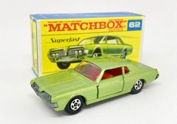 """Matchbox Superfast 62a Mercury Cougar - metallic green body (Regular Wheel colour), clear windows, red interior, bare metal base, 5-spoke narrow wheels with tread pattern cast - Excellent Plus with some marks & faint scratch to roof in Excellent Plus """"New"""" type F2 transitional box."""