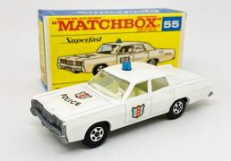 Matchbox Superfast 55a Mercury Park Lane Police Car - white body, blue roof light, clear windows, ivory interior, bare metal base, large diameter 5-spoke narrow wheels with tread pattern cast - Near Mint with a couple of tiny pin size factory assembly paint chips to the leading edge of the bonnet and front wings in generally Near Mint type F3 transitional box.