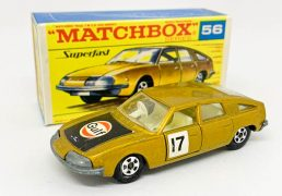 """Matchbox Superfast No.56a BMC 1800 Pininfarina - metallic gold body with """"Gulf"""" hood label, clear windows, ivory interior, bare metal base, 5-spoke narrow wheels without tread pattern cast - Near Mint (factory assembly scratch to roof) in Mint """"New"""" type F transitional box."""